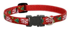 """NEW Christmas Cheer Red Dog or Cat Collar 1/2"""", 3/4"""" or 1"""" by Lupine (Holiday)"""