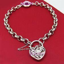 Genuine Solid 18k White Gold GF Rings Chain Heart Clasp Padlock Bracelet Bangle