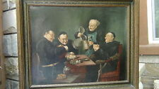 AFTER EDUARD VON GRUTZNER OIL ON CANVAS  MONKS IN PUB WITH A BEER STAIN.SIGNED