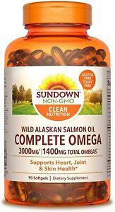 Sundown Complete Omega Wild Alaskan Salmon Oil Softgel, 90 Count (Pack of 1)