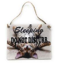 """Sleeping Do Not Disturb with Sleeping Cat Kitten 4"""" x 5"""" Wood Wall Door Hanger"""