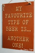 Favourite Beer Brew Bar Pub Wooden Rustic Shed Man Cave Brewing Sign