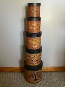 """Primitive Like Country Decor Decorated Stack of 5 Boxes 35"""""""