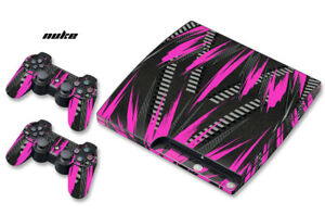 Skin Decal Wrap For PS3 Slim PlayStation 3  Console + Controller Nuke Pink