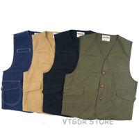 Vintage Game Pocket Canvas Vest Hunting Fishing Outdoor Waistcoat Jacket For Men
