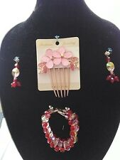 Handmade FACETED  RED & PINK CRYSTAL TEAR DROP JEWELRY SET