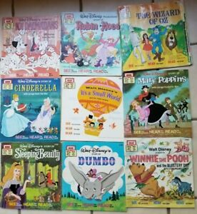 Lot of 9 Vintage Disney Read-Along Books and Tapes