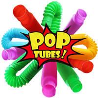 6pcs Fidget Pop Tube Pipe Toys 6 Pack Pull & Pop Sensory Kids Colorful Pop Const