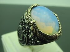 Turkish Handmade Jewelry 925 Sterling Silver Moonstone Stone Men's Ring Sz 11