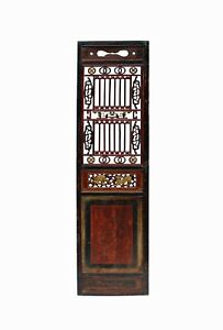 Chinese Gold Red Brown Graphic Carving Wood Decor Panel cs4047