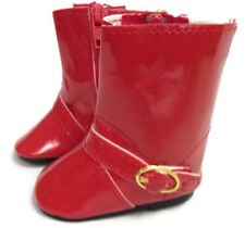 """Red Vinyl Rain Boot Shoes w/Buckle made to fit 18"""" American Girl Doll Clothes"""