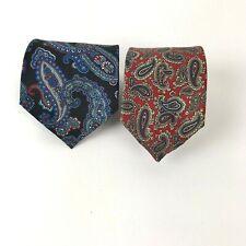 Vtg Paisley Tie lot Cambridge Classics Mervyns Stafford 100% Silk Mod USA