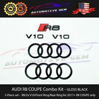 AUDI R8 Emblem GLOSS BLACK Hood Trunk Ring V10 Sign Logo Badge Set 2017+ Coupe
