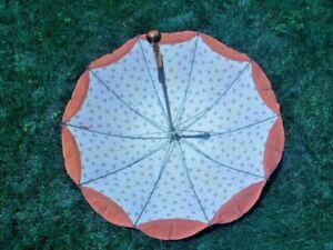 Vintage Victorian Lined Umbrella Parasol Orange with Amber Lucite  Handle