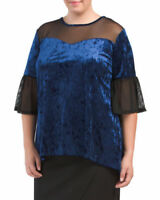 54.00 NEW FORGOTTEN GRACE Plus NAVY 2X Crushed Velvet Top USA MESH TUNIC blouse