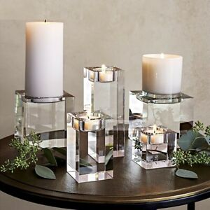 Candle Holder Clear Square Glass Candlestick For Ceremony Wedding Home Decor