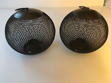Crate & Barrel Iron Mesh Globe Lantern Candle Holder Outdoor Garden Décor ❄❄
