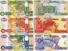 ZAMBIA - Lot Lotto 3 banconote 20/50/100 Kwacha FDS - UNC
