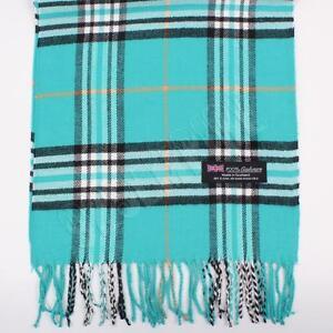 Men's 100% CASHMERE Scarf Teal tartan Plaid Stripe Design Soft