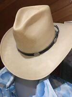 MEN'S VINTAGE PARKER'S WESTERN WEAR RENO COWBOY HAT BEAVER SHANTUNG 6X  7 - 56