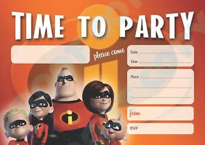"""#96 """"THE INCREDIBLES 2"""" 1x Pack of 10 kids children birthday party INVITATIONS"""