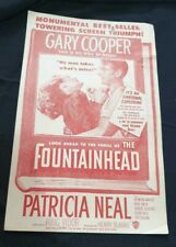 "Old vintage paper movie Herald of ""The Fountainhead"" from USA 1950"