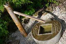 Japanese garden granite millstone 2 word coin basin lantern zen water fountain