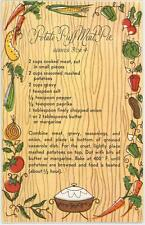 VINTAGE 1950s VEGETABLES KITCHEN POTATO PUFF MEAT PIE RECIPE NOTE CARD ART PRINT