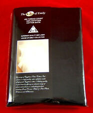 Black Egyptian Cotton Sateen Super King Size Flat / Top Sheet - 400 Thread Count