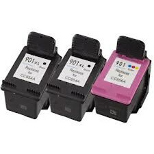 3 Remanufactured Ink Cartridges for HP 901XL 2x Black CC654AN + 1x Color CC656AN