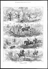 """Caza de jabalí cerdo de 1884 en la India """"cerdo pegado"""" (038)"""