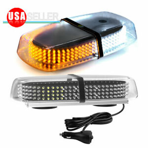 Emergency Roof Warning 240 LED Strobe Lights Magnetic Base Amber/White 12-24V