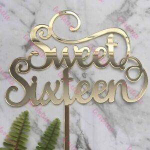 Sweet Sixteen Acrylic Gold Mirror 16th Birthday Cake Topper