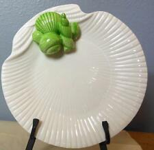 "Fitz and Floyd Shell Plate with Green Shells 9"" Vintage 1975"