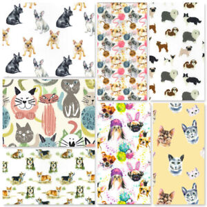 100% Cotton Fabric Domestic Animals Cats Kittens Feline Dogs French Bulldogs Sew