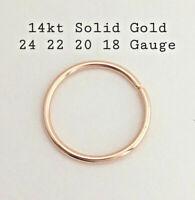 14k Solid Gold Nose Ring Septum Ear Piercing Hoop Earrings 5 6 7 8 9 10 mm
