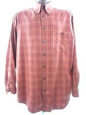SCOTT BARBER Mens Large Long Sleeve Button Front Burnt Orange Plaid Cotton Shirt