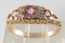 LOVELY 9CT 9K GOLD PINK TOURMALINE & DIAMOND ART DECO INS RING FREE RESIZE