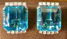 Transparent Emerald Cut 44.08CT Aquamarine With White CZ Vintage Stud Earrings