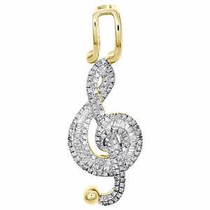 10K Yellow Gold Fn Round & Baguette Diamond Music Note Treble Clef Pendant 2 CT