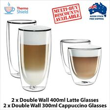 2 x Cappuccino + 2 x Caffe Latte Double Wall Dual Thermo Glasses Glass Set