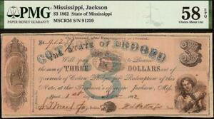 1862 $3 DOLLAR COTTON PLEDGED JACKSON MISSISSIPPI NOTE PAPER MONEY PMG 58 EPQ