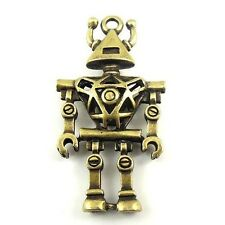 5pcs Antique Style Bronze Alloy Extra-Terrestria Robot Pendant Charms 44mm