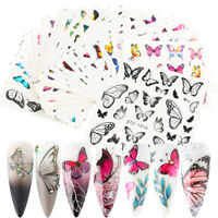 Nail Art Decor Manicure Nail Stickers Colorful Butterfly Water Transfer Decals