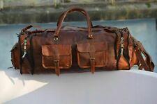"30"" Men's Genuine Leather Large Duffel Travel Gym Weekend Overnight Vintage Bag"