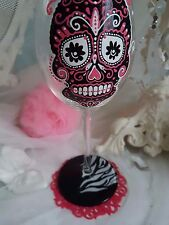Personalised Hand Painted Wine Glass birthday party 16th 18th 21st sugar skull