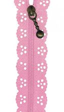 Pink Lace Zip ZIPPER Sewing Craft 20cm / 8 Inches
