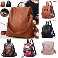 Black/Brown Women Leather Backpack Anti-Theft Rucksack School Shoulder Bag UK