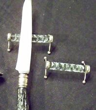 Elegant VICTORIAN STYLE - SET OF TWO FINE STERLING AND GLASS CRYSTAL KNIFE RESTS