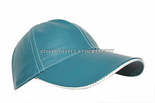BASEBALL CAP Teal Blue unisex Soft nappa Lambskin genuine Leather Hip-Hop Hat
